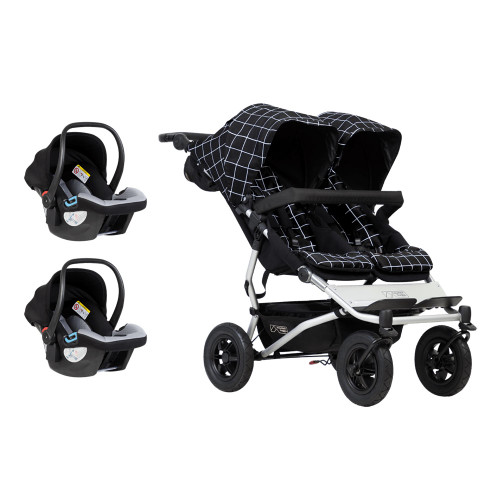 Mountain Buggy Duet V3 Travel System for Twins Bundle - Grid