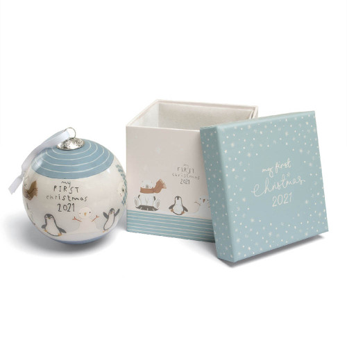 Mamas & Papas My First Christmas 2021 Bauble - Blue