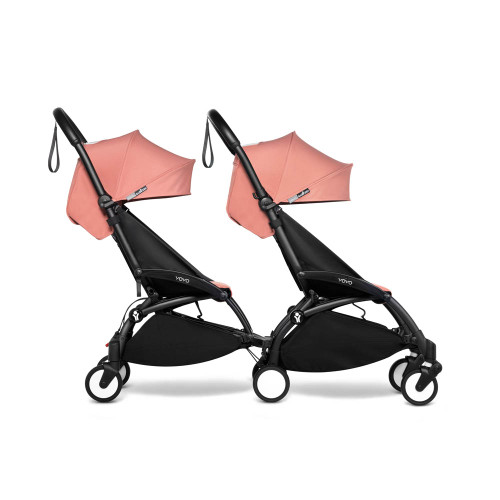 BABYZEN YOYO2 Double Pushchair from 6 months+ for Twins on Black Frame