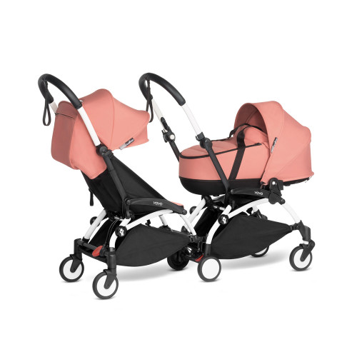BABYZEN YOYO2 Complete Double Pushchair for Siblings on White Frame