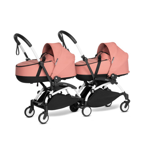 BABYZEN YOYO2 Complete Pushchair from Birth for Twins on White Frame