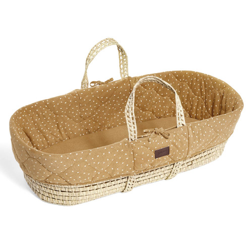Little Green Sheep Natural Quilted Moses Basket & Mattress - Honey Rice
