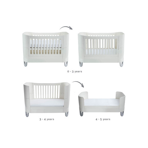 Gaia Baby Complete Sleep Cot Bed & Dresser Room Set - White
