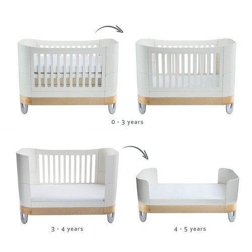 Gaia Baby Complete Sleep Cot Bed & Dresser Room Set - White/Natural