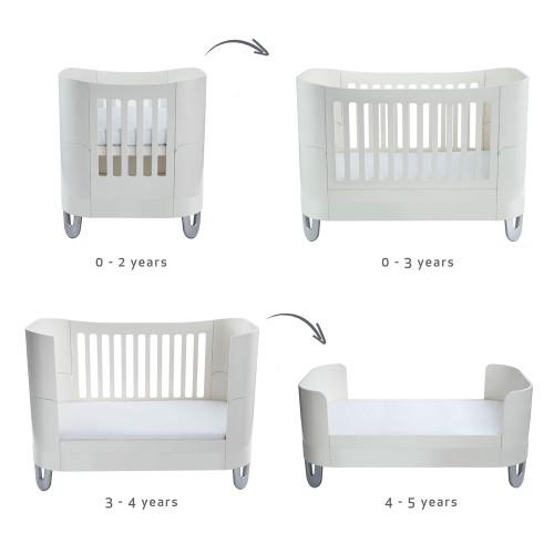 Gaia Baby Complete Sleep Cot Bed+/ Mini & Dresser Room Set - White