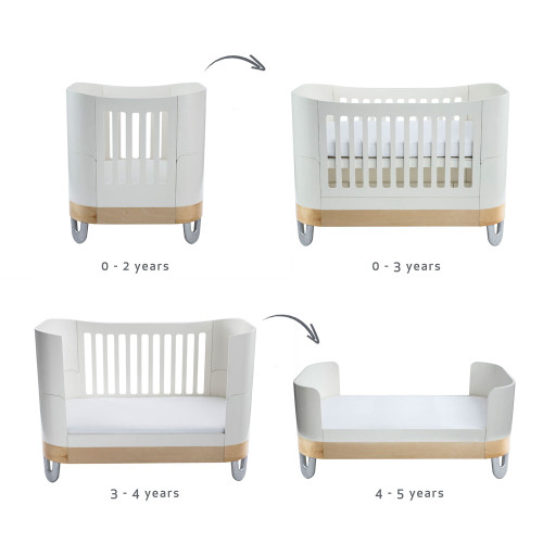 Gaia Baby Complete Sleep Cot Bed+/ Mini & Dresser Room Set - White/Natural