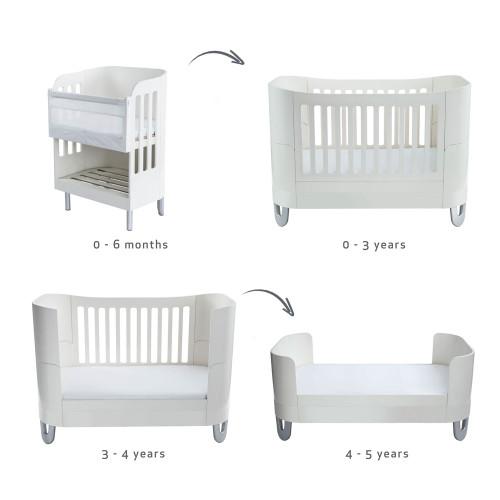 Gaia Baby Complete Sleep Cot Bed+/ Co-Sleep & Dresser Room Set - White
