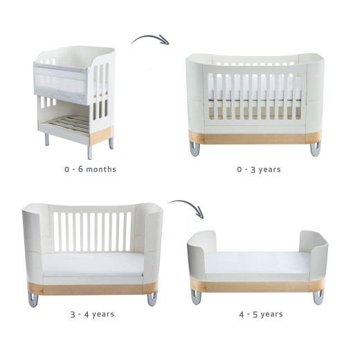 Gaia Baby Complete Sleep Cot Bed+/ Co-Sleep & Dresser Room Set - White/Natural
