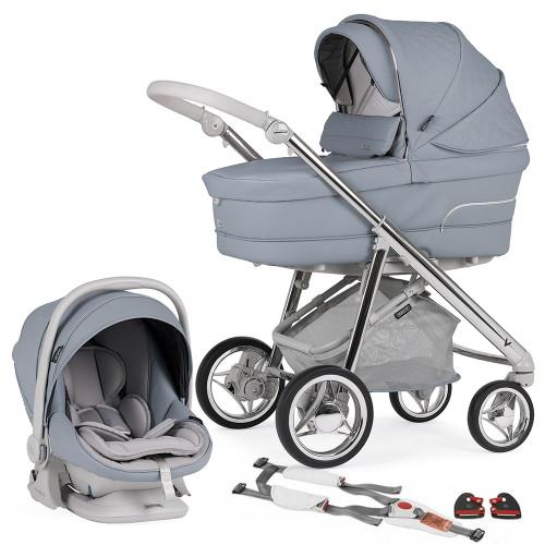 Bebecar V Pack + Lie Flat Car Seat, LA3 Kit & Raincover - Smokey Blue (127)