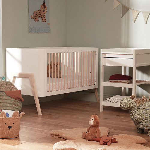 Troll Torsten 2-Piece Cot & Changing Table Room Set - White/Natural
