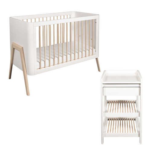 Troll Torsten 2-Piece Cot Bed & Changing Table Room Set - White/Natural