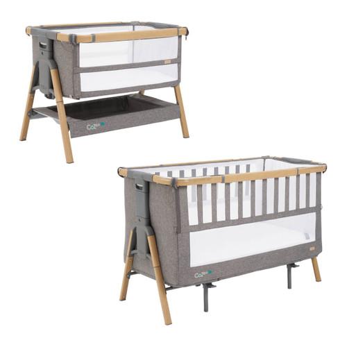 Tutti Bambini Cozee XL Bedside Crib & Cot - Oak / Charcoal