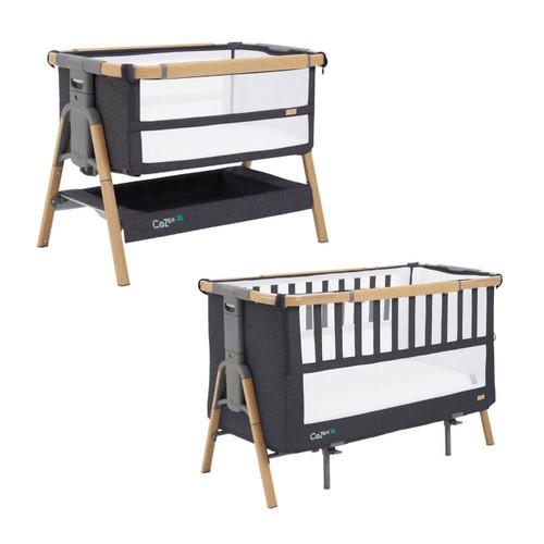 Tutti Bambini Cozee XL Bedside Crib & Cot - Oak / Liquorice