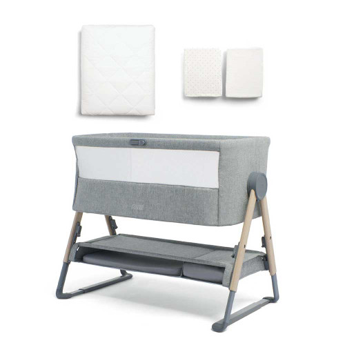 Mamas & Papas Lua Bedside Crib Bundle with Mattress Protector & Fitted Sheets