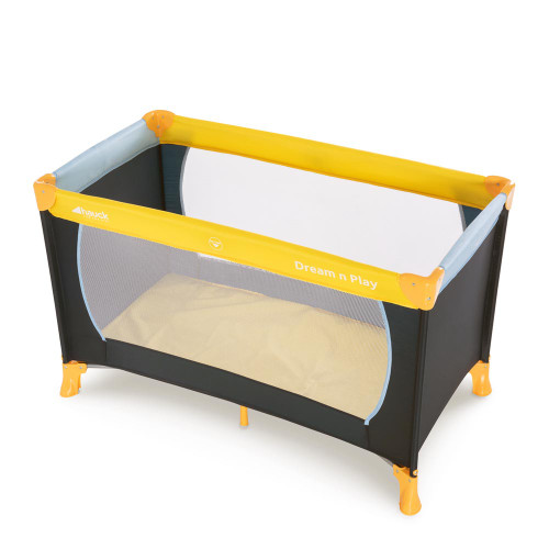Hauck Dream N Play Travel Cot - Yellow, Blue & Navy