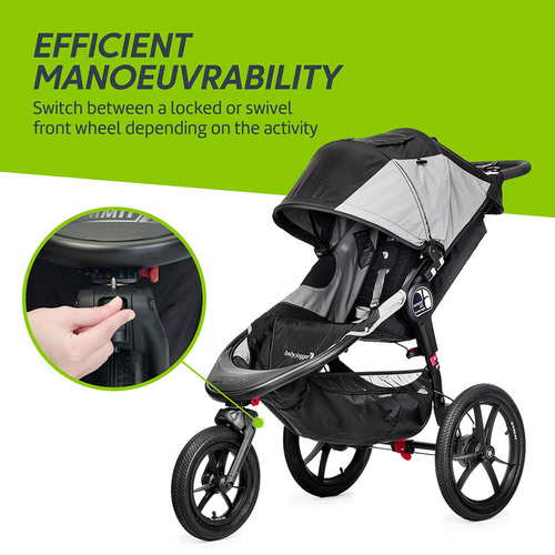 Baby Jogger Summit X3 - Black - lock or swivel front wheel