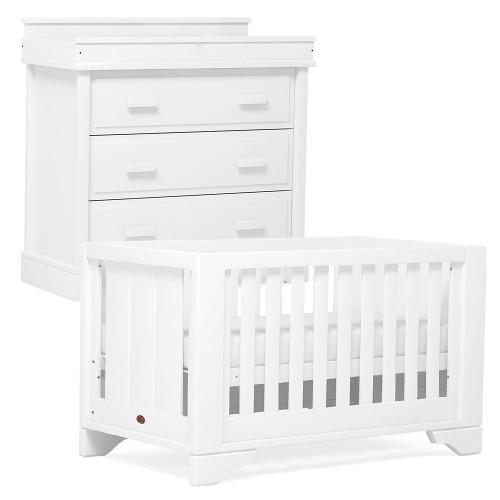 Boori Eton Expandable Cot Bed + Dresser - White