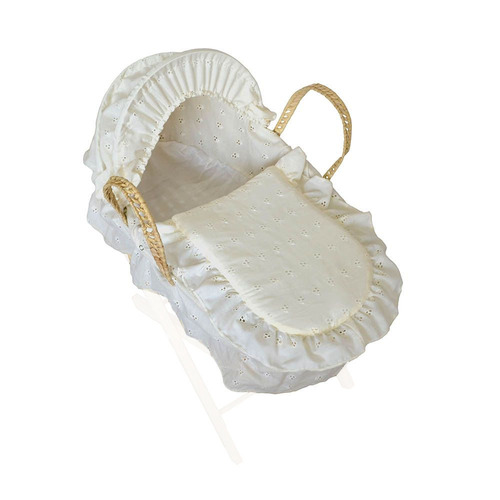 Cuddles Collection Dolls Moses Basket - Cream
