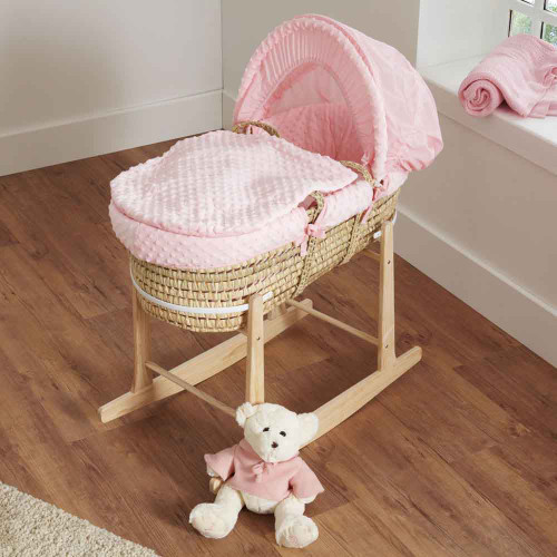 Cuddles Collection Dimple Palm Moses Basket - Pink