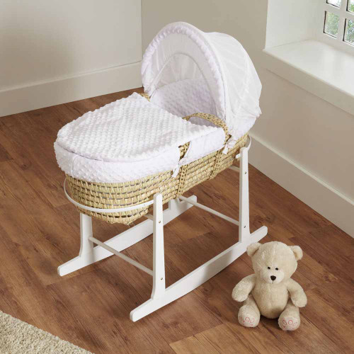 Cuddles Collection Dimple Palm Moses Basket - White