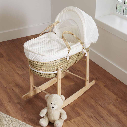Cuddles Collection Dimple Palm Moses Basket - Cream