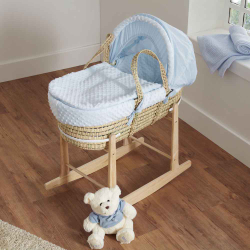 Cuddles Collection Dimple Palm Moses Basket - Blue
