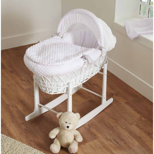 Cuddles Collection Dimple White Wicker Moses Basket - White
