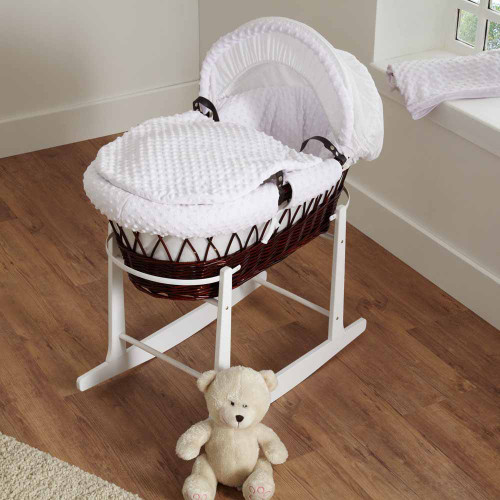 Cuddles Collection Dimple Dark Wicker Moses Basket - White