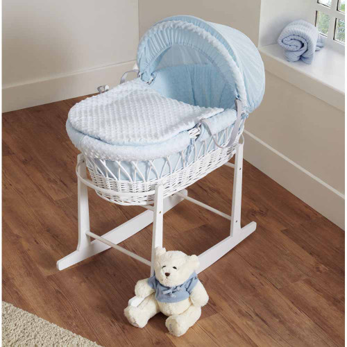 Cuddles Collection Dimple White Wicker Moses Basket - Blue