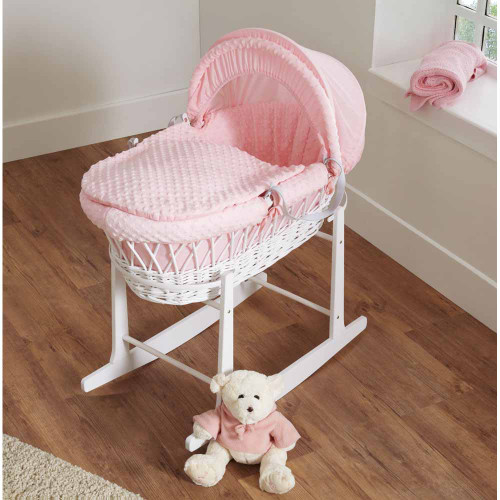 Cuddles Collection Dimple White Wicker Moses Basket - Pink