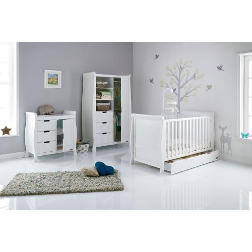 Obaby Stamford Sleigh 3 Piece Room Set - White (drawer)