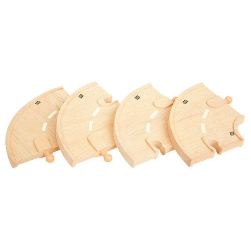 Bigjigs Curved Roadway (Pack of 4)