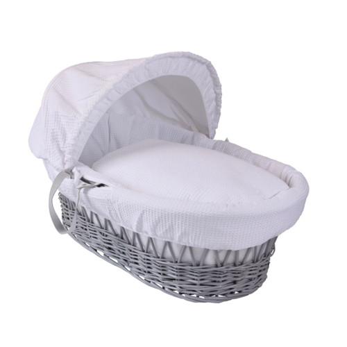 Clair De Lune Moses Basket - Grey Wicker/White Waffle