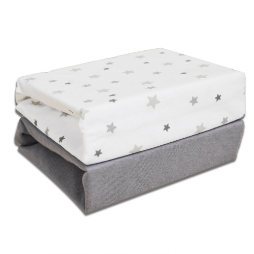 Cuddles Collection Magical Stars Cotbed Fitted Sheets - Grey