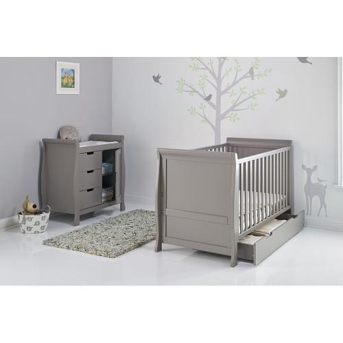 Obaby Stamford Sleigh 2 Piece Room Set - Taupe Grey (drawer open)