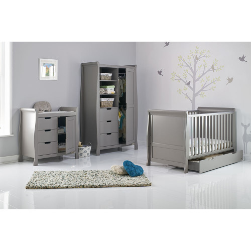 Obaby Stamford Sleigh 3 Piece Room Set - Taupe Grey (drawers open)