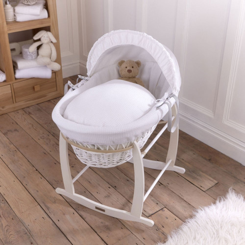 Clair De Lune White Wicker White Waffle Moses Basket