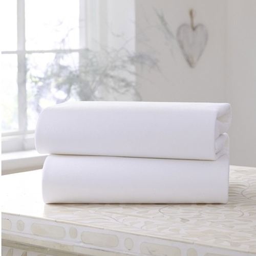 Clair De Lune 2 Pack Fitted Cot Bed Sheets - White