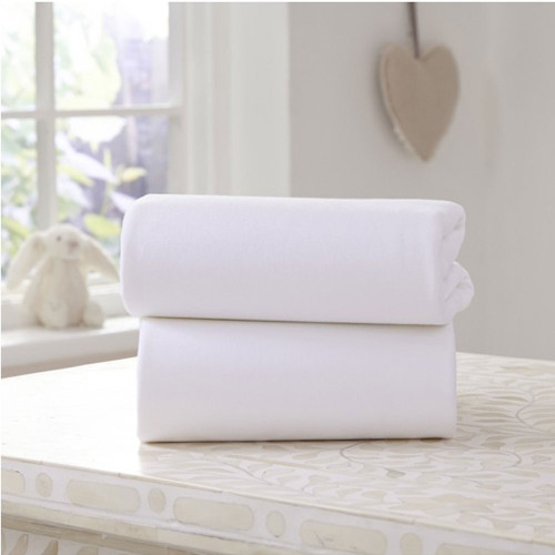 Clair De Lune 2 Pack Fitted Moses Basket Sheets - White