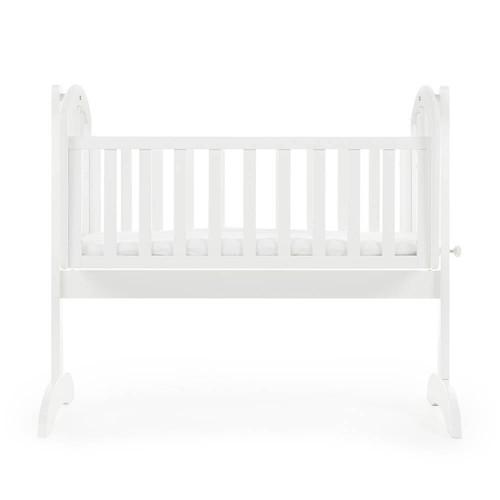 Obaby Sophie Swinging Crib + Mattress - White (side)