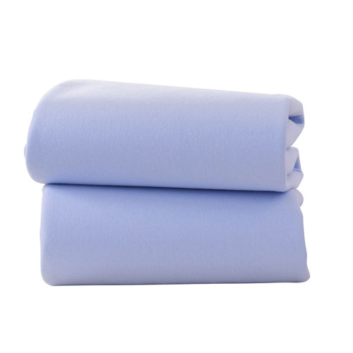 Clair De Lune 2 Pack Fitted Moses Basket Sheets - Blue
