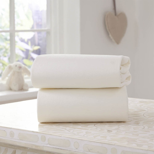 Clair De Lune 2 Pack Fitted Moses Basket Sheets - Cream