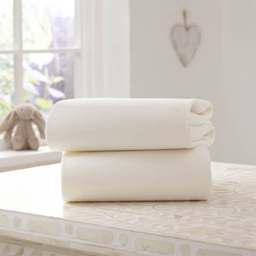 Clair De Lune 2 Pack Fitted Pram Sheets - Cream
