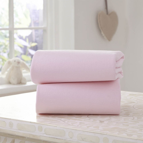 Clair De Lune 2 Pack Fitted Moses Basket Sheets - Pink