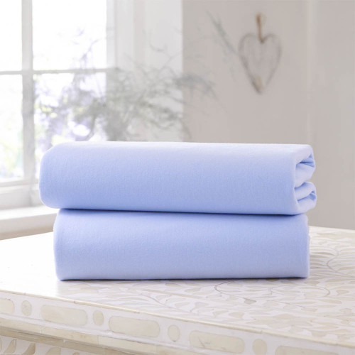 Clair De Lune 2 Pack Fitted Cot Bed Sheets - Blue