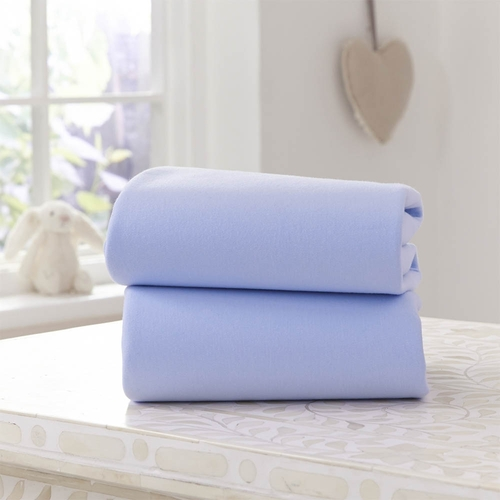 Clair De Lune 2 Pack Fitted Pram Sheets - Blue