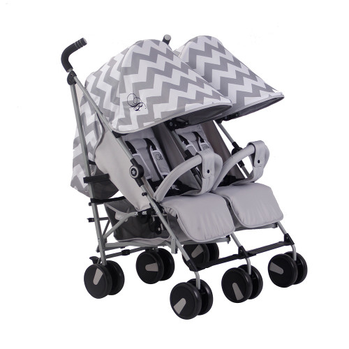 My Babiie MB22 Twin Stroller - Billie Faiers/Grey Chevron