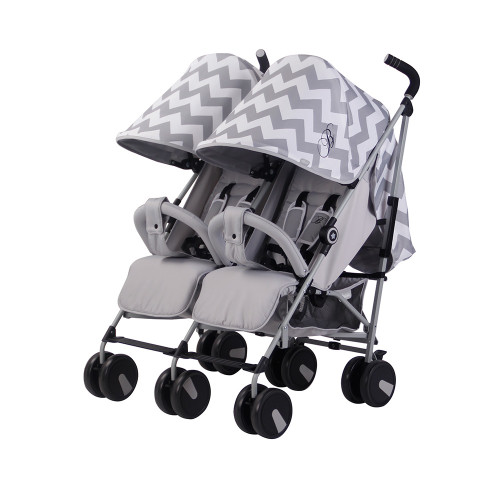 My Babiie MB22 Twin Stroller - Billie Faiers/Grey Chevron - 3QTR