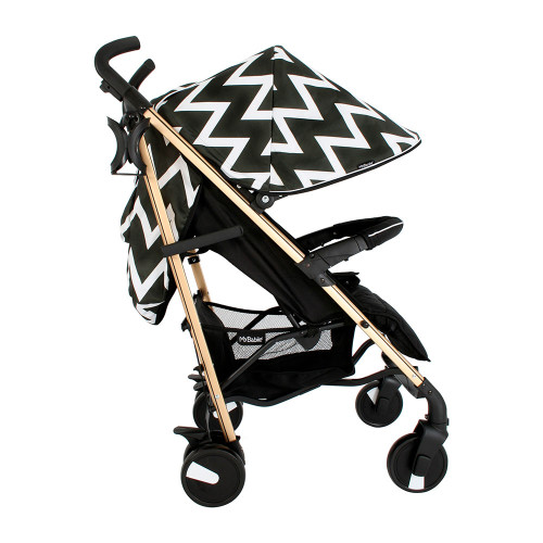 My Babiie MB51 Stroller - Gold Edition Chevron - Side