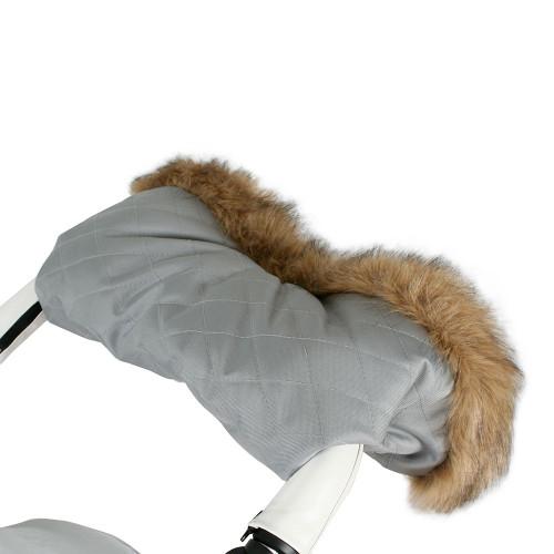 My Babiie Fur Trimmed Pushchair Handmuff - Grey